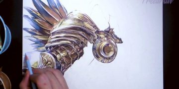 A Diablo fan creates an amazing illustration of Tyrael ... by hand and with coloring pencils!